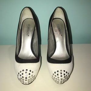 Black & White heels with studs